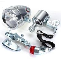 Iztoss 12V 6W Motorized Bicycle Head Tail Lamp Friction Generator Dynamo Light Kit Suit