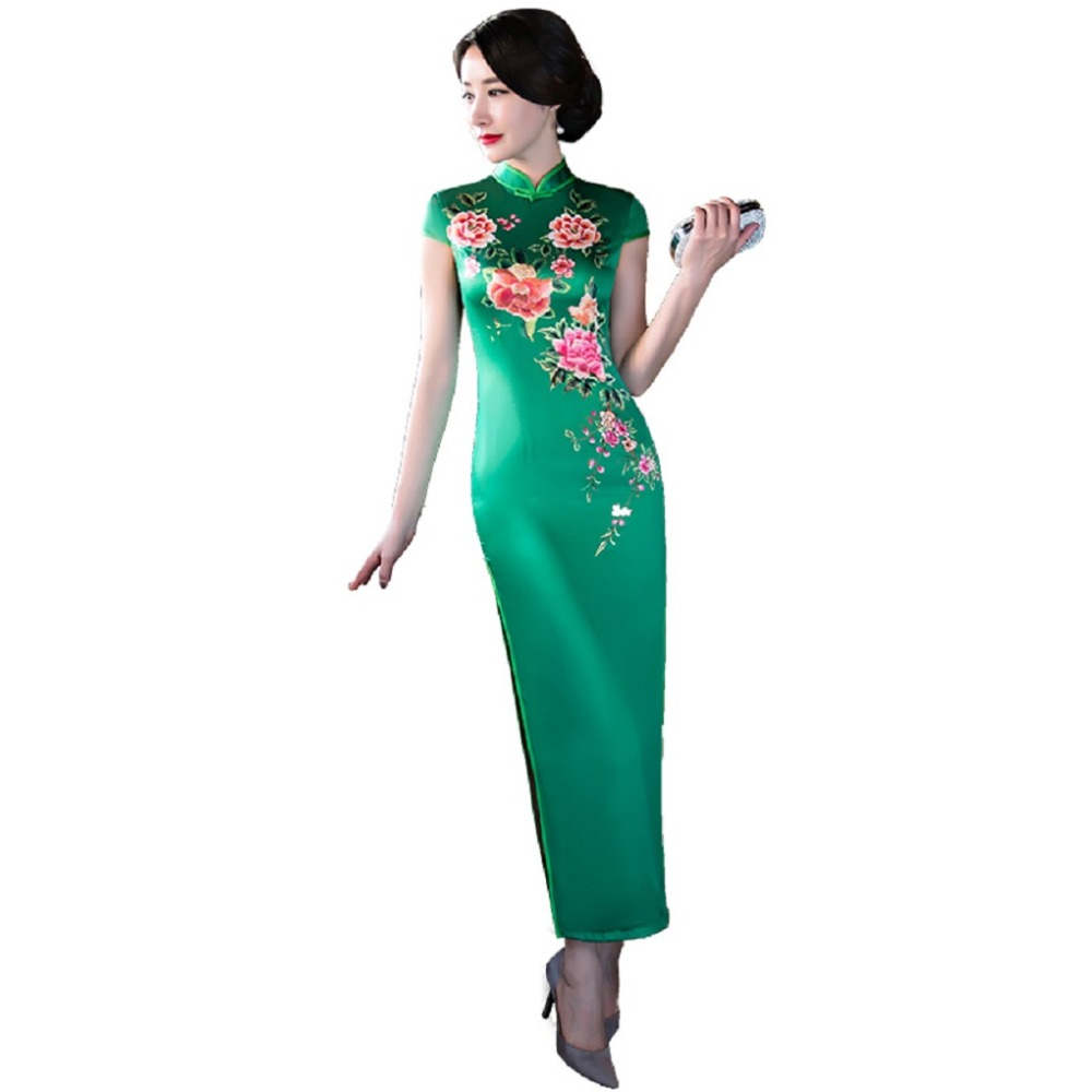 Shanghai Story New Sale Short Sleeve Flower Print Qipao Faux Silk Cheongsam Dress Long Chinese Traditional
