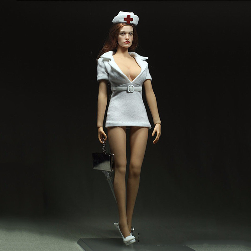 1/6 Scale White Nurse Uniform Clothing Model Toys For 12 Female Action Figure Accessory new sexy vs045 1 6 black and white striped sweather stockings shoes clothing set for 12 female bodys dolls