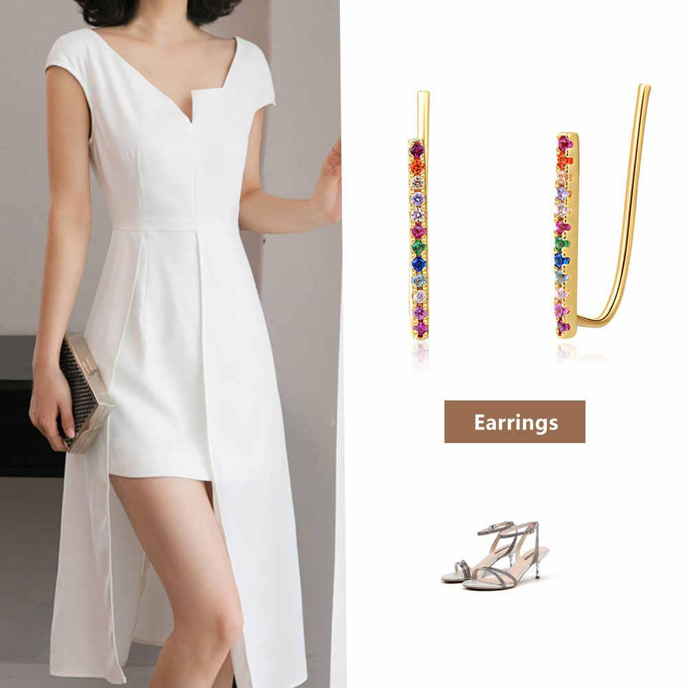 Joyería E 14K chapado en oro 925 pendientes de barra de plata de ley para mujeres arcoiris pendientes de perno joyería de moda coreana 2019 las niñas
