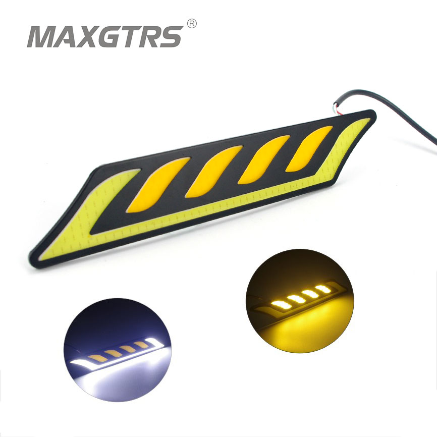 где купить  2x Car HeadLight COB LED Daytime Running Lights DRL Fog Lights with Yellow Turn Signal Car Light Source For Universal Waterproof  дешево