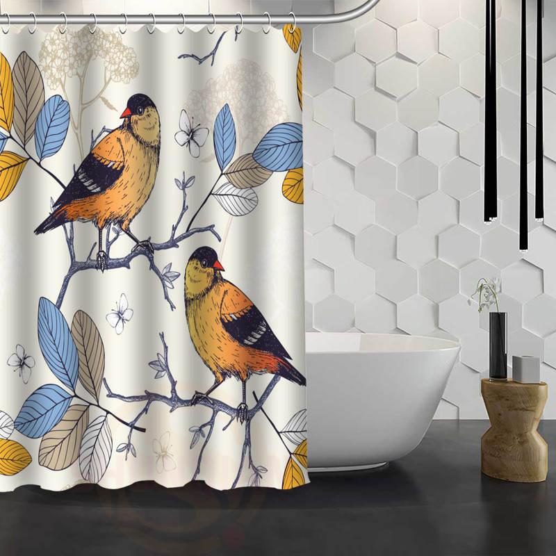 Hot Sale Custom Birds Painting Art Custom Shower Curtain ...