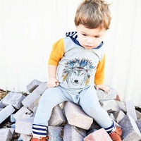 Kids Clothes Autumn Indian Wolf Hoodie Jumpersuit Outfits Infant Bodysuit Pullover Long Sleeve With Hat Overall