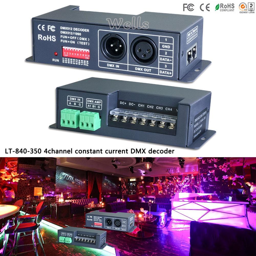 LTECH led controller LT-840-350 4CH DMX512 led constant current DMX-PWM Decoder;DC12V-DC48V input;350mA CC*4CH output r4 cc ltech dmx512 decoder rgbw controller constant current dmx signal driver wireless led dimmer