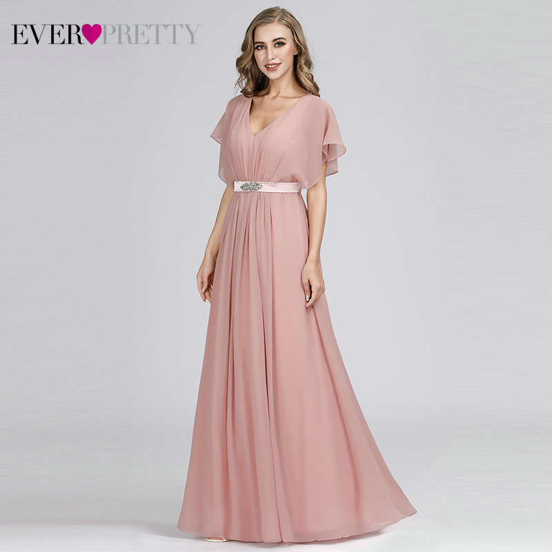 Prom Dresses 2020 Ever Pretty Pink V-neck Elegant Chiffon Short Sleeve Long Formal Party Dresses With Sashes Vestido Formatura
