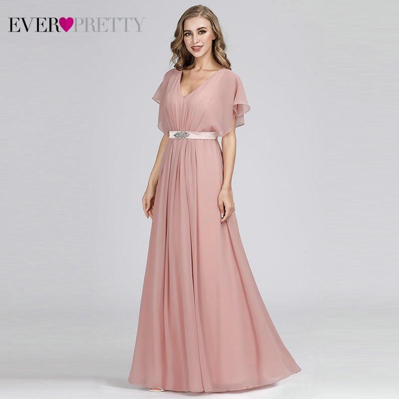 Prom Dresses 2020 Ever Pretty Pink V-neck Elegant Chiffon Short Sleeve Long Formal Party Dresses With Sashes Vestido Formatura
