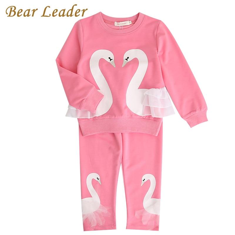 Bear Leader Girls KIds Sets 2017 New Autunm Sets Children Clothing 3D Swan Lace Design Sweatshirts+Pants Sets For 3-7 Years женское платье bear 150417 3