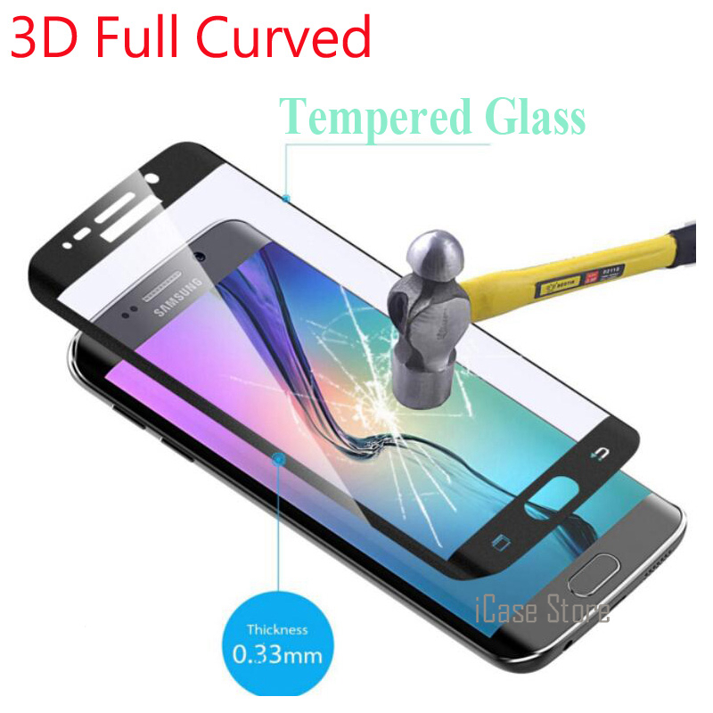 9H Full Cover 3D Curved Tempered Glass For Samsung Galaxy S6 Edge S6 Edge Plus S7 S8 Plus Screen Protector Color Film