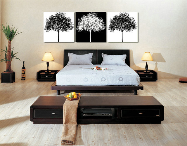 3 panel modern home decor canvas art printed black white tree painting picture canvas art wall