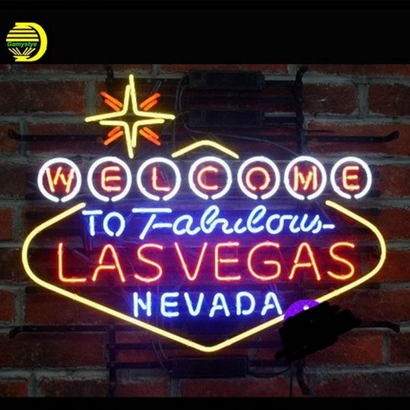 Bem-vindo ao Fabuloso Las Vegas Nevada Neon Sign Beer Bar Pub Artesanais Tubo de Vidro Sinal De Lâmpadas de Néon Personalizado Lâmpada Resistor VD 24X20