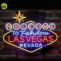 Nuevo Bienvenido al fabuloso letrero de neón LasVegas Nevada cerveza Bar Pub lámparas de neón artesanales signo