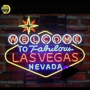 Chào mừng bạn đến Tuyệt Vời LasVegas Nevada Neon Sign Beer Bar Pub Thủ Công Neon Bóng Đèn Dấu Hiệu Ống Kính Tùy Chỉnh Đèn Điện Trở VD 24X20