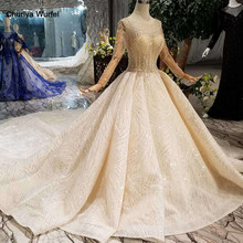 HTL126 handmade wedding dresses 2019 o-neck long tulle sleeve luxury beaded shiny lace bride wedding gown fashion New material(China)
