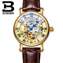 Switzerland Watch Casual Women Brand Wristwatches Mechanical Watch Automatic Skeleton Watches Full Gold Steel  Strap BINGER