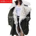 Más el tamaño 2016 de la moda de Invierno nuevas mujeres de la alta calidad Natural contorno de lana solapa líder verde flojo de gran tamaño larga de piel escudo