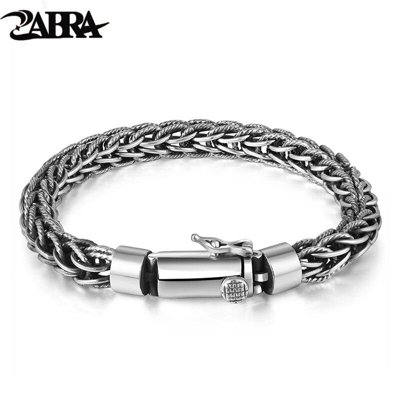 ZABRA Véritable 925 Sterling Bracelet En Argent Hommes Punk Mode Vintage Main Weave Bracelets Bracelets Mans Bijoux 2017