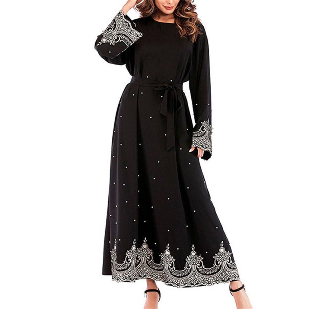 Hot Muslim Dress 2019 Women Ethnic Robes Abaya Islamic Muslim Middle East Maxi Dress Bandage Kaftan Black Women Robes Plus Size