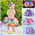 Lovely Kids Handmade Colorful Tutu Skirt Girls Rainbow Tulle Tutu Mini Girls Skirt