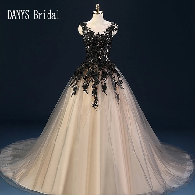 17defb39a1 Black Wedding Dresses Ball Gown Tulle Lace Wedding Gowns Weding Bridal  Bride Dresses Weddingdress vestido de noiva