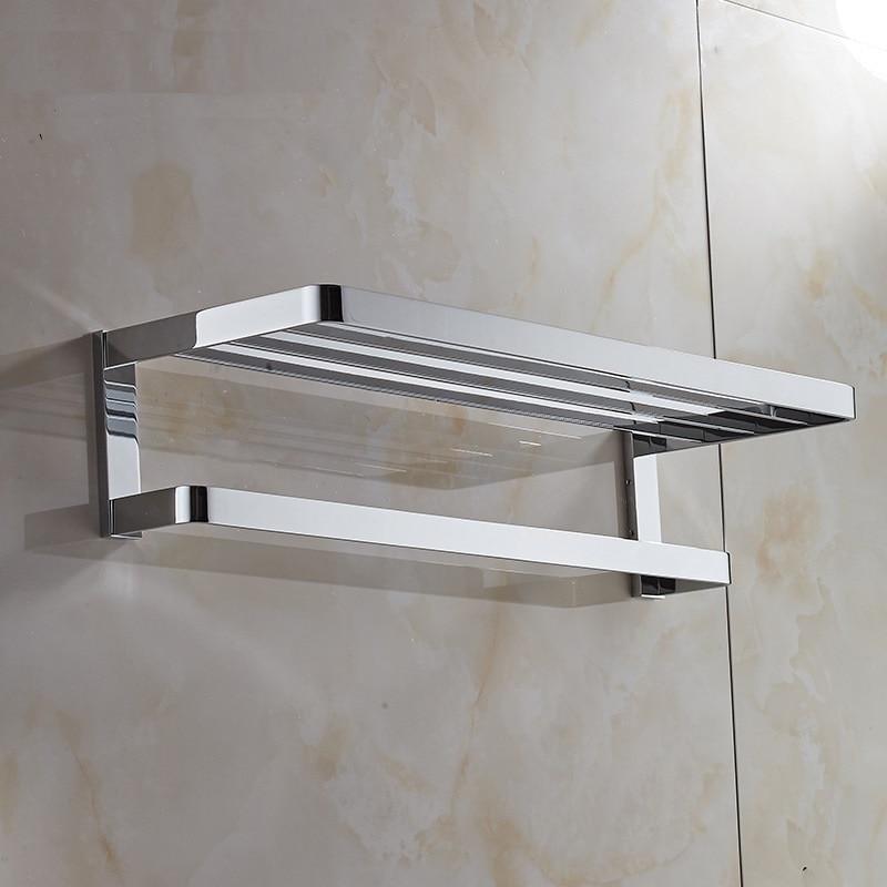 2018 New Solid Brass Brushed Gold Towel Rack Towel Ring Bathroom Towel Holder Square Chrome Towel Shelves Bathroom Accessories
