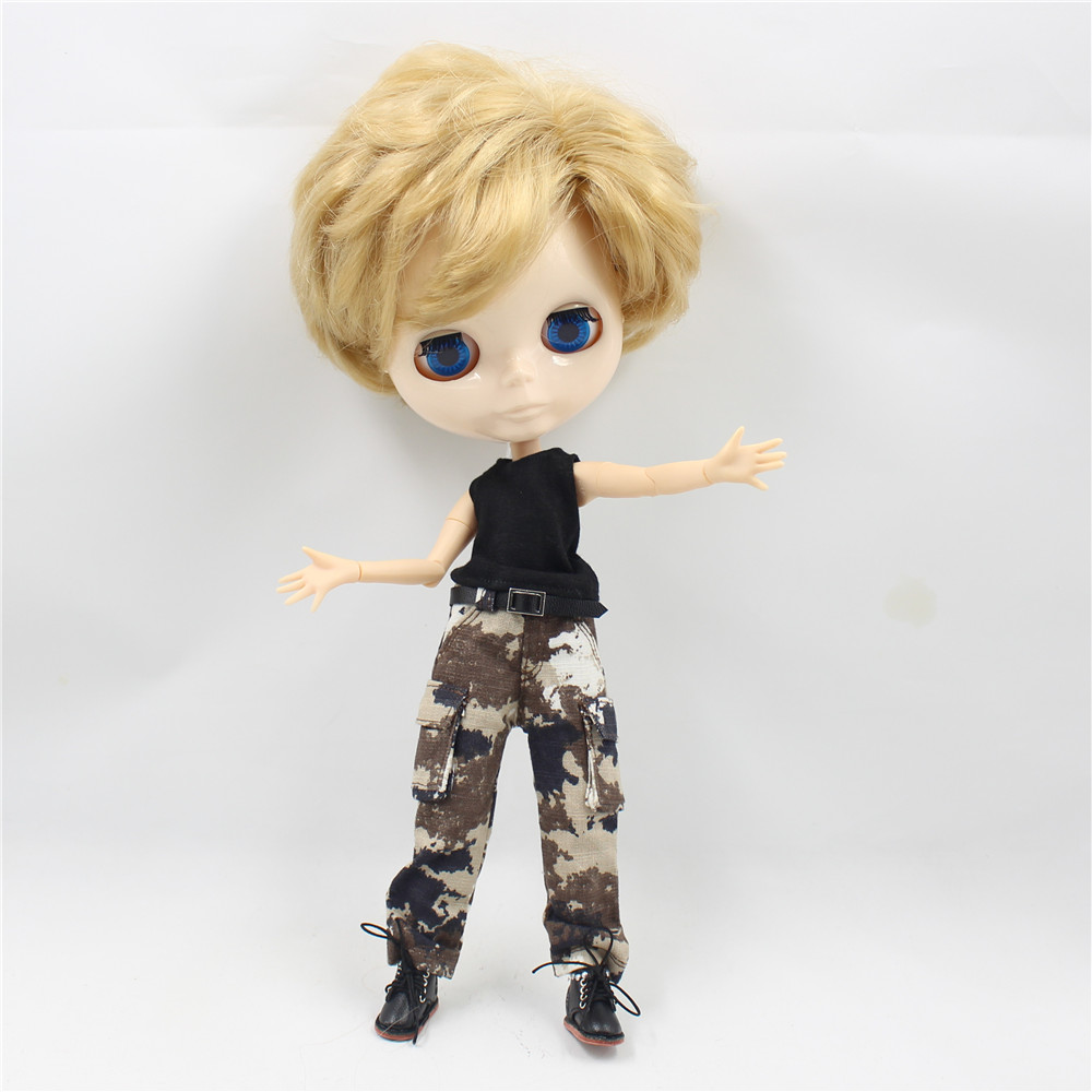 Free shipping factory blyth doll boy golden hair white skin face joint body 28cm gift toy