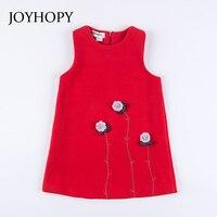 JOYHOPY Girl Dress Spring Autumn Beautiful Flower Kids Girls Clothes Girl Dresses Sleeveless Red Pink Children