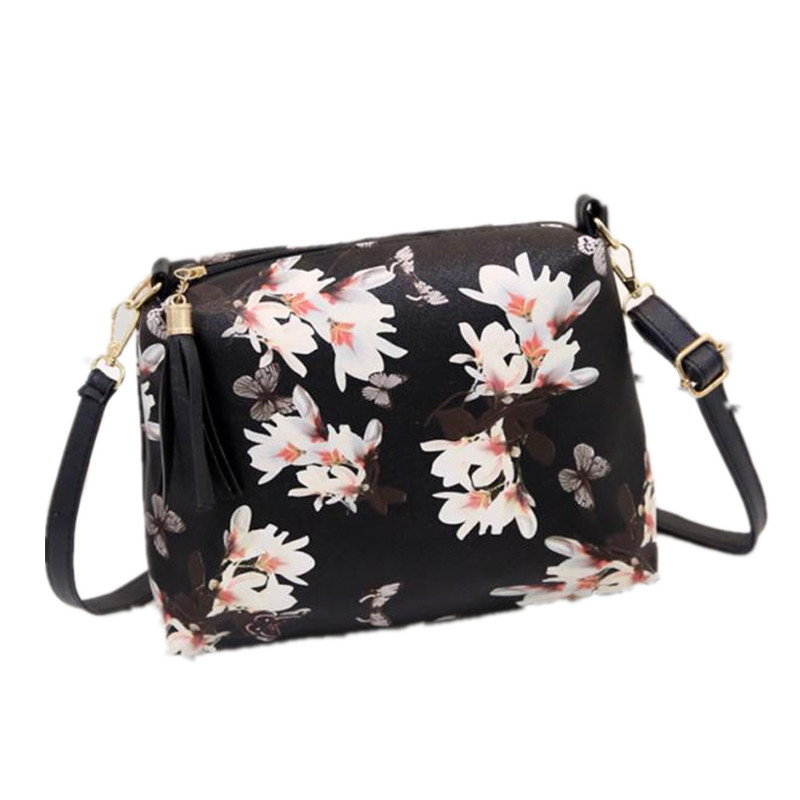 Naivety 2017 Women Handbag Floral Printing PU Leather Shoulder Bag Fashion Tassel Tote Lady Flower Purse 28S7429 drop shipping naivety new fashion women tassel clutch purse bag pu leather handbag evening party satchel s61222 drop shipping