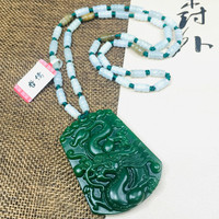 Zheru Jewelry Pure Natural Jasper Carved Big Flying Dragon Pendant Three Color Jade Jade Bead Necklace Send Class A Certificate