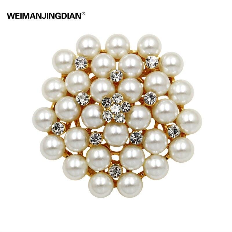 Schneidig Weimanjingdian Marke Klassische Haufen Simulierte Perlen Blume Brosche Pins Für Frauen Oder Diy Hochzeit Bouquets Broschen