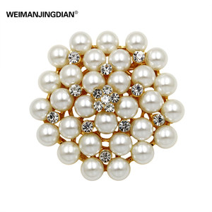 WEIMANJINGDIAN Brand Classic Bunch Simulated Pearls Flower Brooch Pins for Women or DIY Wedding Bouquets