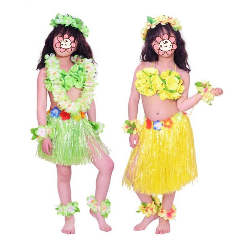 Tropical Hula Grass Garland Wristbands Headband Hawaiian Party Fancy Dress