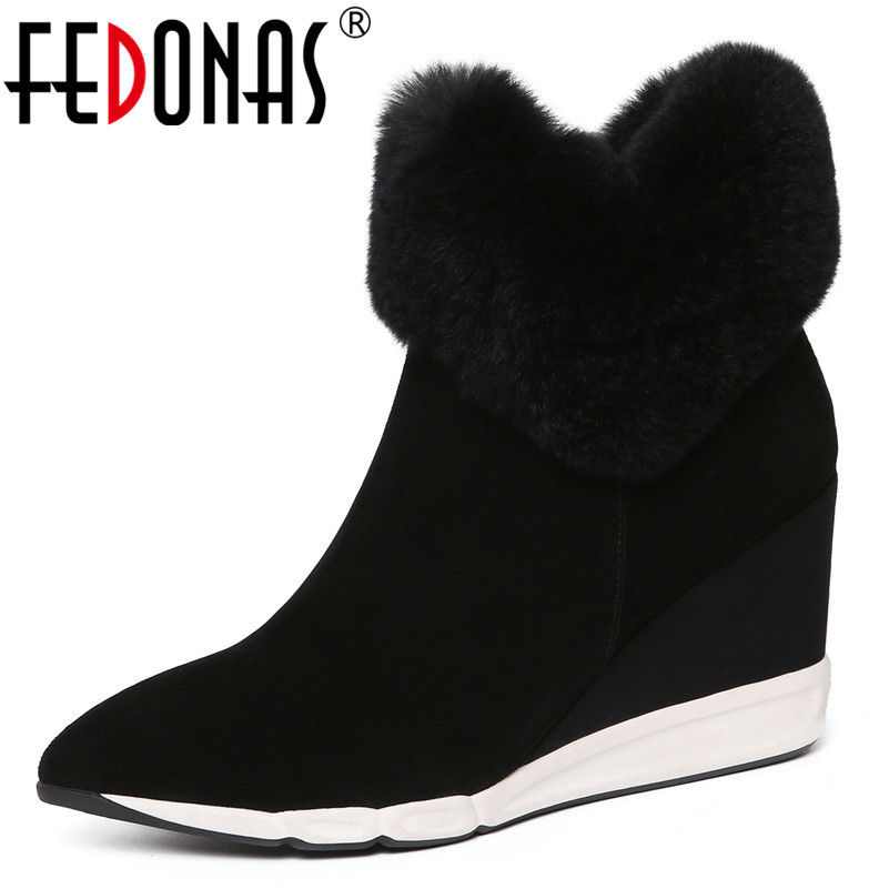 FEDONAS Elegant Women Wedges High Heels Autumn Winter Warm Shoes Woman Pointed Toe Platforms Party Shoes Sexy Office Pumps new women pumps transparent wedges high heels ankle pointed toe high heels pring autumn sexy shoes woman platform pumps