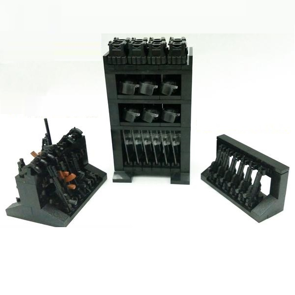 MOC Equipment Storage Rack Military Weapons City Police Parts Playmobil Mini Figures Building Block Brick Original Model Toys
