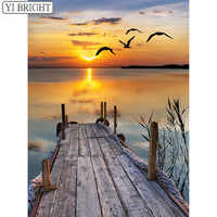 Diy Diamond Painting Cross Stitch seagulls setting sun Diamond Embroidery Square Mosaic Decor natural landscape BK