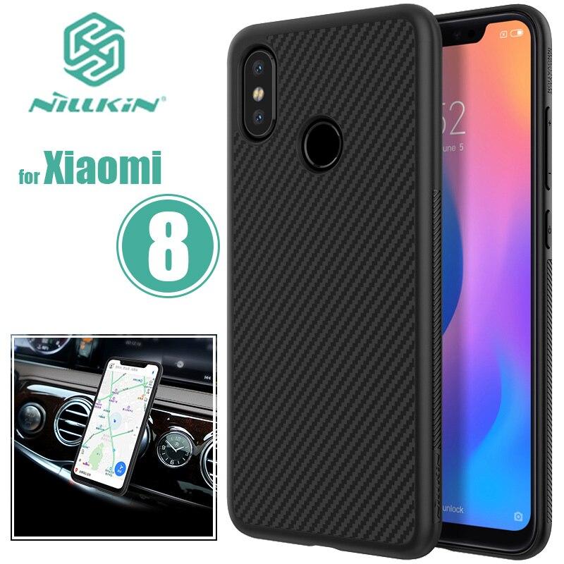 Para Xiao mi 8 Nillkin fibra sintética Xiao mi 8 contraportada Xiao mi 8 teléfono chapa de hierro para Xiao mi M8 caso Nilkin