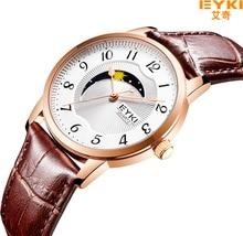 EYKI Для мужчин Для женщин часы люксовый бренд ремень из натуральной кожи япония двигаться Для мужчин t кварцевые часы любовника Водонепроницаемый пара платье часы 2018