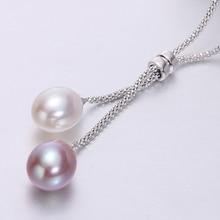 925 argent perle deau douce pendentif collier femmes, mode naturel perle pendentifs bijoux femme maman anniversaire cadeau blanc 45cm
