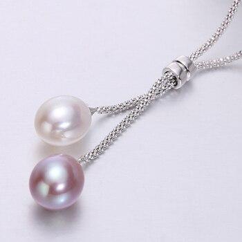 d8e228376ea0 Perlas de agua dulce de plata 925 colgante collar mujeres