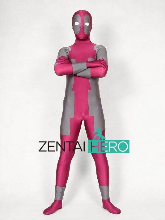 Free Shipping DHL Amazing Full Body Fuschia Gray Deadpool Costume Lycra Spandex Suit Halloween Party Costume XRC053