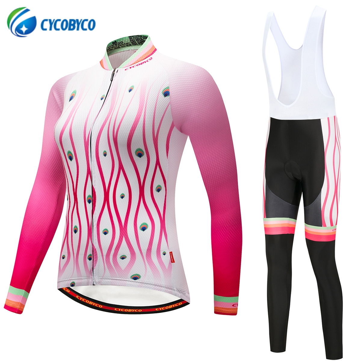 Cycobyco Autumn Womens Cycling Clothing 100% Polyester Bicycle Wear Ropa Ciclismo Cycling Clothes Cycling Jersey Set Peacock