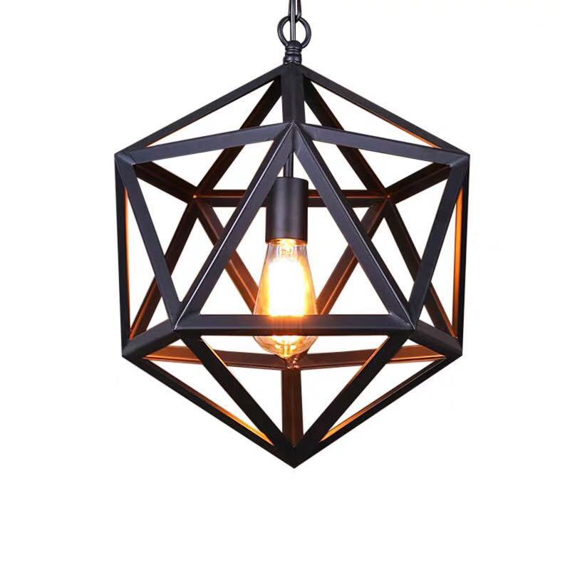 Retro Industrial Iron Chandelier Polyhedron Black Creative Restaurant Diamond Ball Chandelier