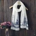 Новое прибытие осень и зима мода этническом стиле женщины хлопок лен вышивка цветок шарф длинной бахромой шарф стиль