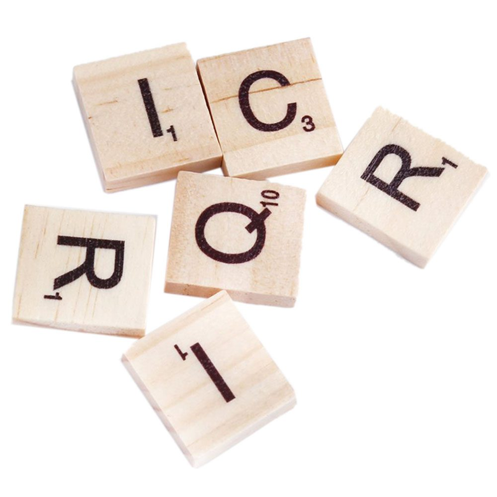 FBIL-100x Wooden Alphabet Tiles Black Letters & Numbers For Scrabble Kid Child Educational Drawing Painting Toy Gift, Wood col