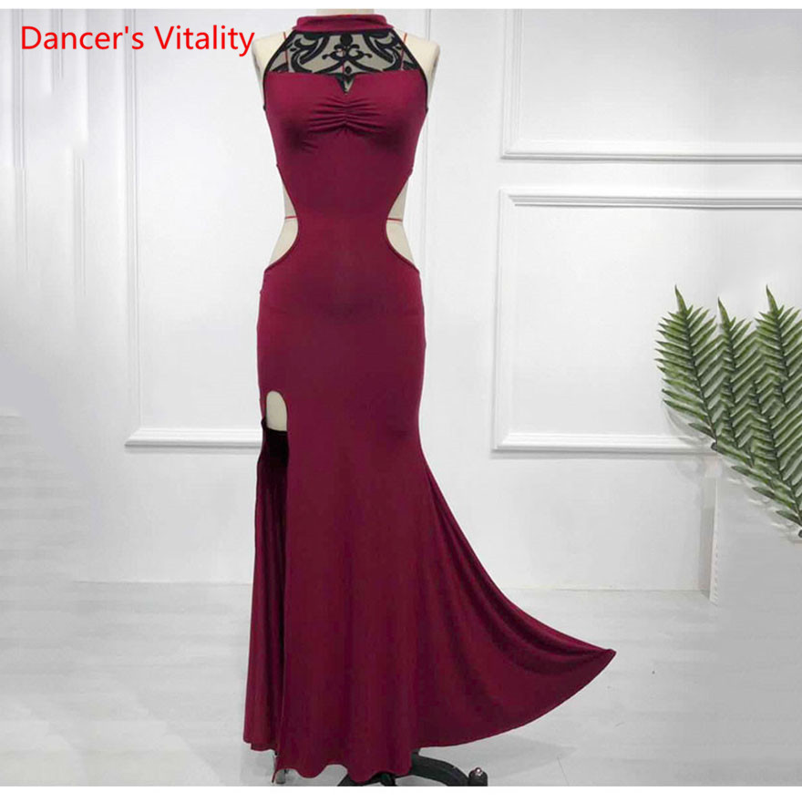 Women Belly Dance Sleeveless Dress Sexy Oriental Dance Competition Dress Red Wine Black 2 Colors Free Delivery