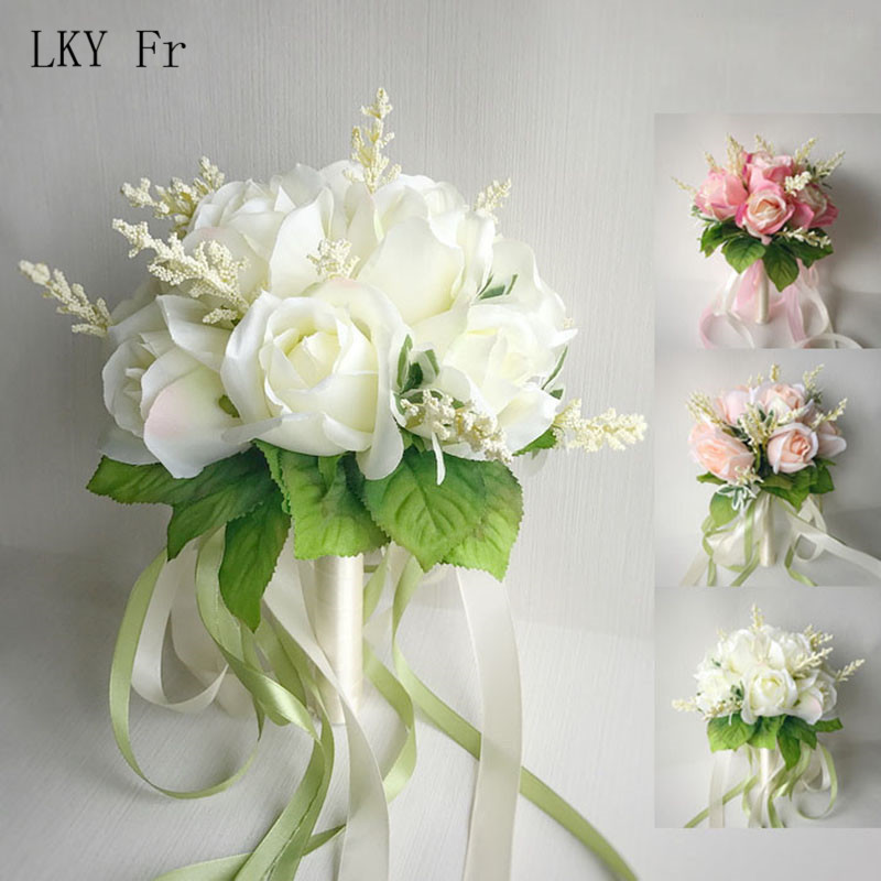 LKY Fr Wedding Bouquet Artificial Roses Wedding Flowers Bridal Bouquets Bridesmaids Bouquets Pink White Marriage Wedding Flowers