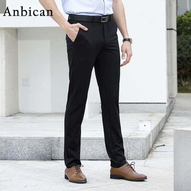 540b715380b Anbican Brand Office Work Black Dress Pants Men Spring Summer Smart Casual  Chino Pants Male Slim