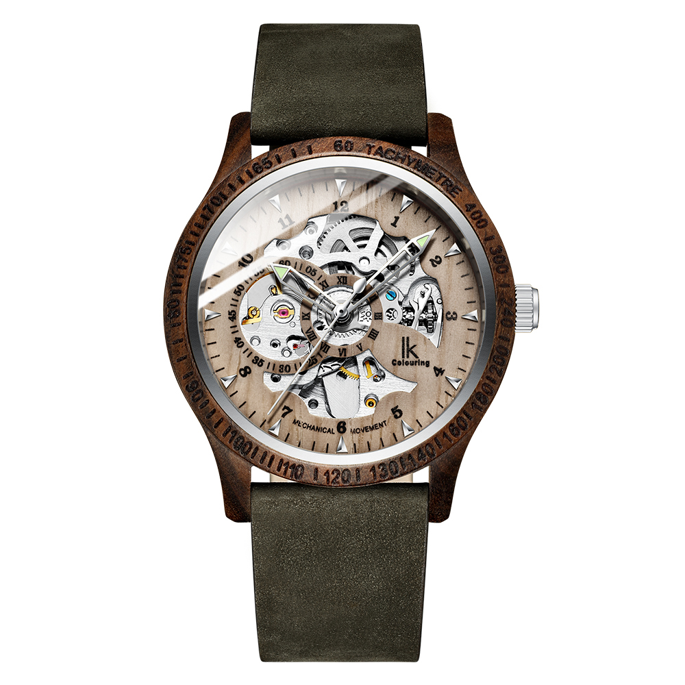 IK Colouring 2019 Men Watch Fashion Wood Case Genuine Leather Bracelet Automatic Mechanical Skeleton Steampunk Wooden