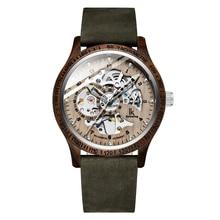 ساعة يد خشبية أنيقة للرجال موديل 2019 من IK Colouring مزودة بسوار من الجلد الطبيعي ساعة يد ميكانيكية أوتوماتيكية بإطار Steampunk