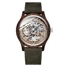 IK kolorystyka 2019 mężczyzna zegarka mody drewna przypadku prawdziwej skóry bransoletka automatyczne mechaniczne szkielet Steampunk drewniany zegarek