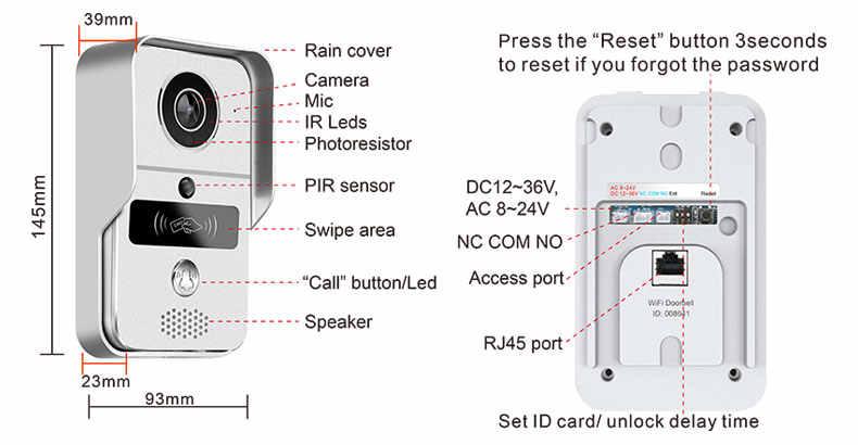 سمارت 720P هوم واي فاي فيديو باب الهاتف جرس باب إنتركوم لاسلكي إفتح كاميرا بثقب دقيق المشاهد